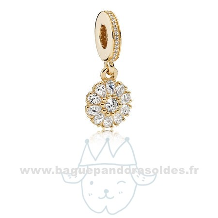 Tous Les Bijoux Pandora Pandora Collections Agrementee Floral Dangle Charm 14K Or Clear Cz Entier