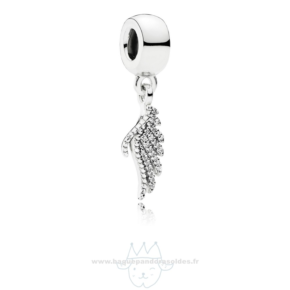 Tous Les Bijoux Pandora Pandora Passions Charms Chic Glamour Majestueux Feather Dangle Charm Clear Cz Entier