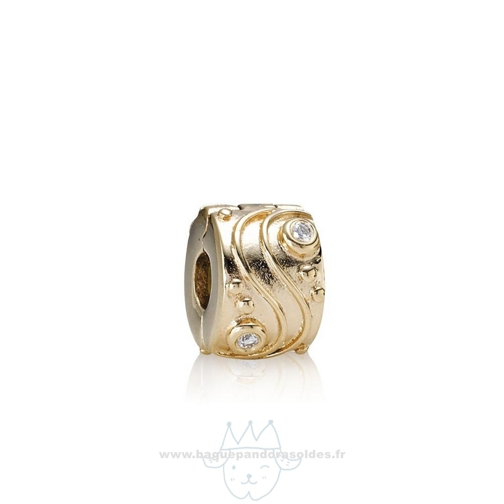 Tous Les Bijoux Pandora Pandora Clips Breloques Babbling Brook Abstract Gold Clip Diamants Entier